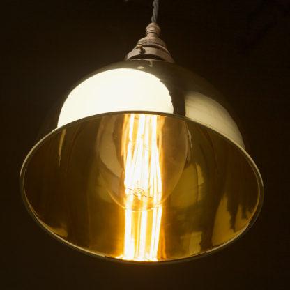 Polished brass 270mm dome pendant C100 globe