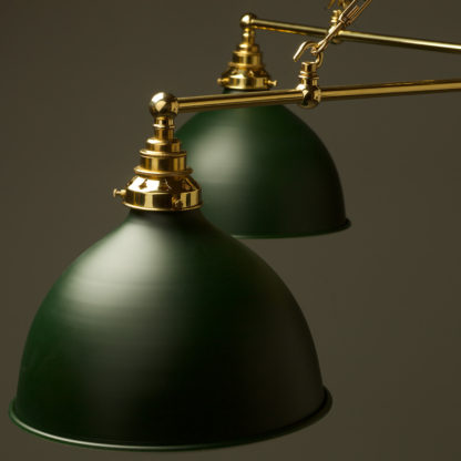 Vintage Edison polished brass full size cross billiard table light antiqued green domes