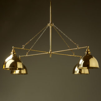 Vintage Edison polished brass full size cross billiard table light polished brass domes