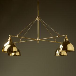 Vintage Edison polished brass full size cross billiard table light polished brass domes