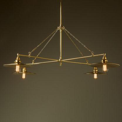 Vintage Edison polished brass full size cross billiard table light polished brass flat