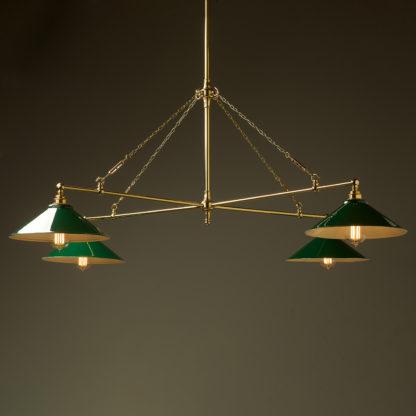 Vintage Edison polished brass full size cross billiard table light dark green shades