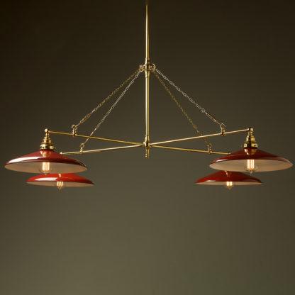 Vintage Edison polished brass full size cross billiard table light red enamel