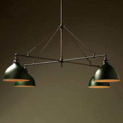 Vintage Edison full size cross billiard table light antique green dome