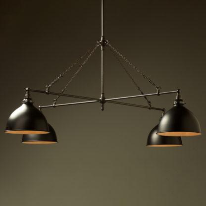 Vintage Edison full size cross billiard table light flat black dome