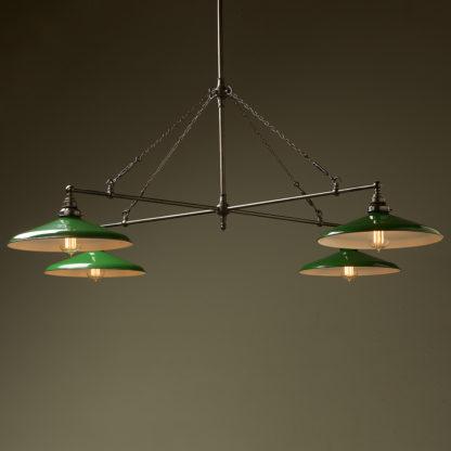 Vintage Edison full size cross billiard table light green enamel shades