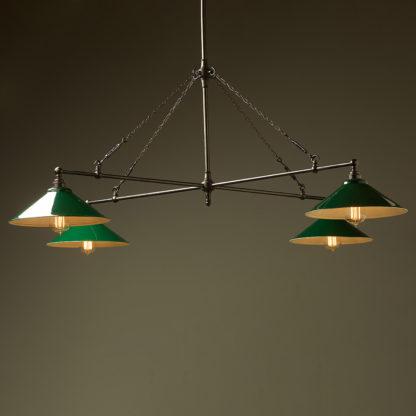 Vintage Edison full size cross billiard table light green shades
