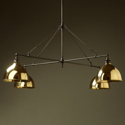 Vintage Edison full size cross billiard table light polished brass domes
