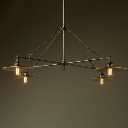 Vintage Edison full size cross billiard table light polished brass flat
