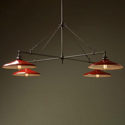Vintage Edison full size cross billiard table light red enamel shades