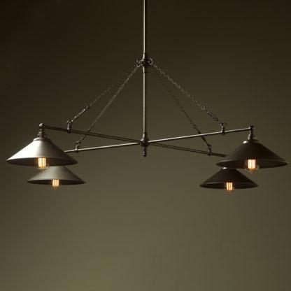 Vintage Edison full size cross billiard table light rustic steel shades