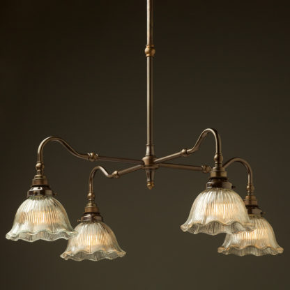 Brass four bulb Coventry bend shade light