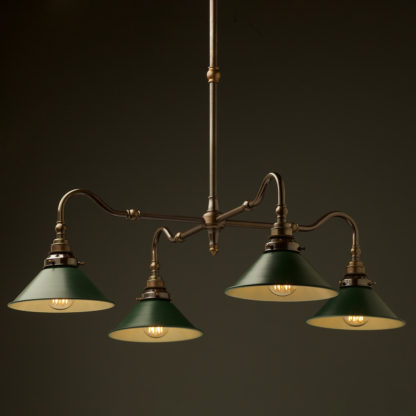 Brass four bulb Coventry bend shade light antiqued green
