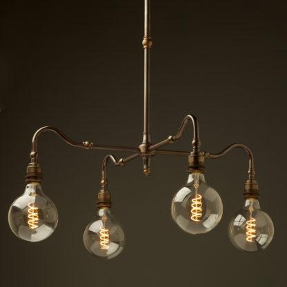Brass four bulb Coventry bend shade light bare bulb G125 spiral