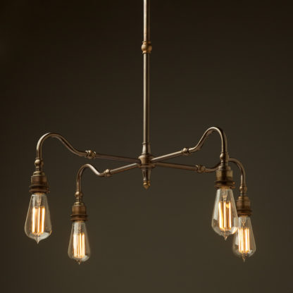 Brass four bulb Coventry bend shade light bare bulb ST64