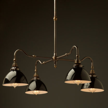 Brass four bulb Coventry bend shade light black dome