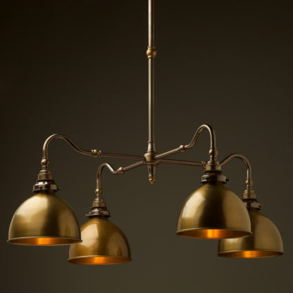 Brass four bulb Coventry bend shade light brass dome