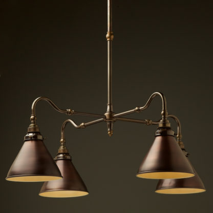 Brass four bulb Coventry bend shade light bronze cone