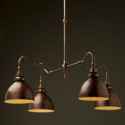 Brass four bulb Coventry bend shade light bronze dome