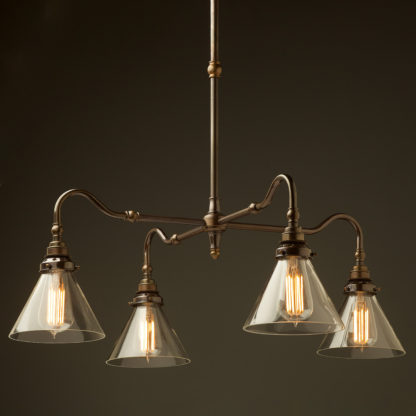 Brass four bulb Coventry bend shade light clear glass cone