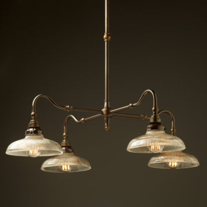 Brass four bulb Coventry bend shade light holophane dish