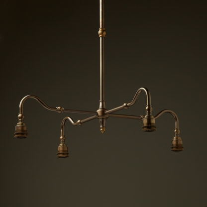 Brass four bulb Coventry bend no gallery or shade