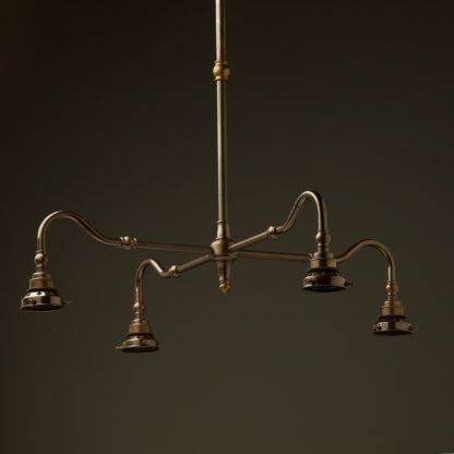 Brass four bulb Coventry bend with gallery