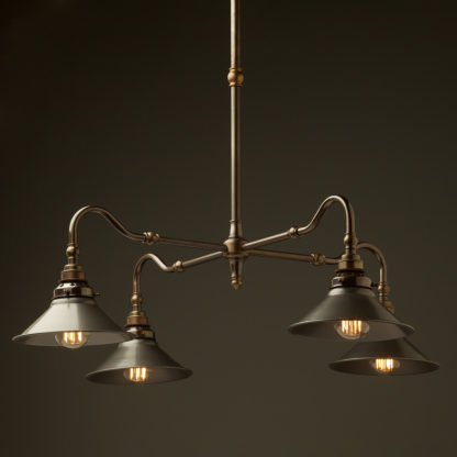 Brass four bulb Coventry bend shade light steel hat