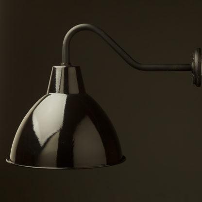 Gooseneck Barn light with gloss black enamel shade on black side on
