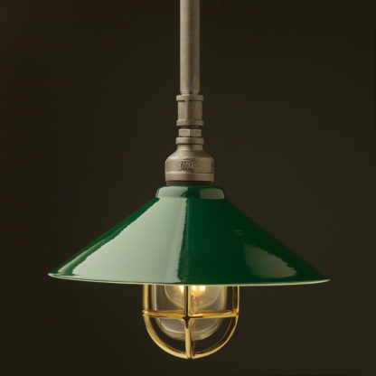 Raw steel Plumbing Pipe Caged Shade pipe light 310mm green shade brass cage