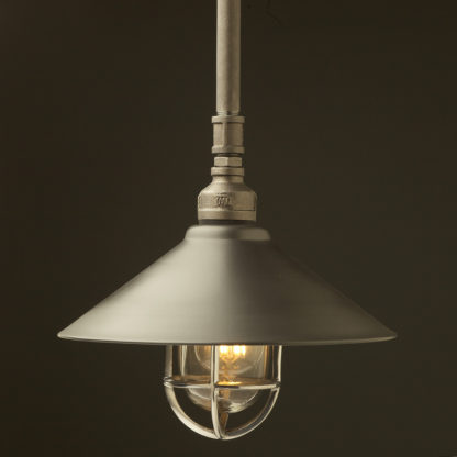 Raw steel Plumbing Pipe Caged Shade pipe light 310mm rustic steel shade aluminium cage
