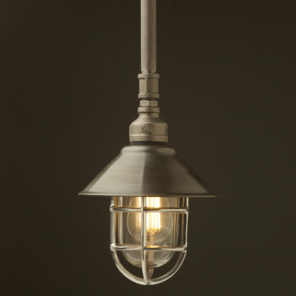 Raw steel Plumbing Pipe Caged Shade pipe light 190mm antique steel shade aluminium cage