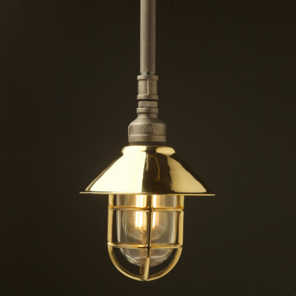 Raw steel Plumbing Pipe Caged Shade pipe light 190mm brass shade brass cage