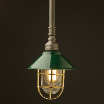 Raw steel Plumbing Pipe Caged Shade pipe light 190mm green shade brass cage