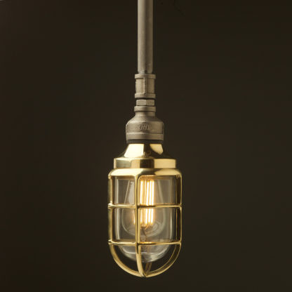 Raw steel Plumbing Pipe Caged Shade pipe light no shade brass cage