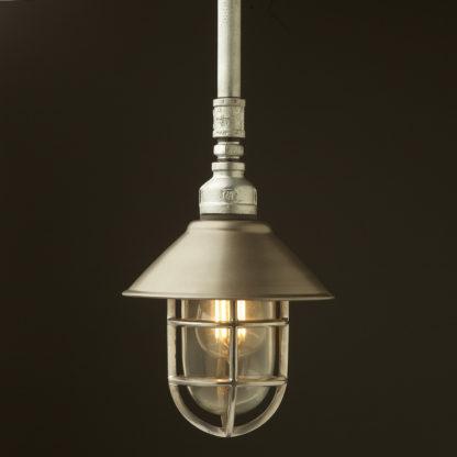 Galvanised steel Plumbing Pipe Caged Shade pipe light 190mm rustic steel shade aluminium cage
