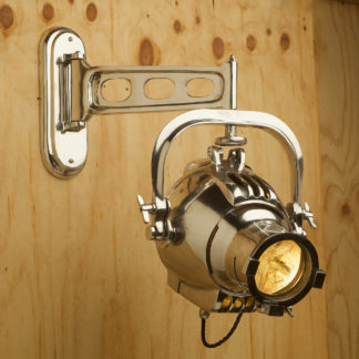 Reproduction Polished Aluminum wall mounted theater spotlight