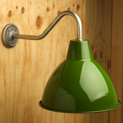 Gooseneck Barn light with gloss green enamel shade
