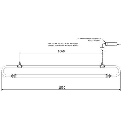 1500 mm half inch pipe loop LED tube light dimensions