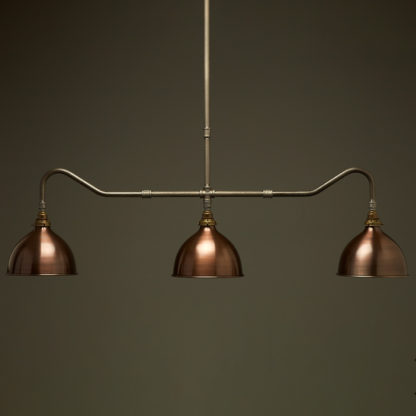 Plumbing Pipe Billiard table light raw steel antique brass with antiqued bronze domes