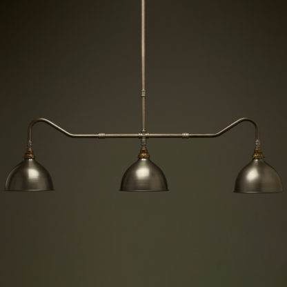 Plumbing Pipe Billiard table light raw steel antique brass with antique steel domes