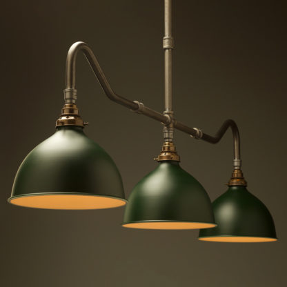 Plumbing Pipe Billiard table light raw steel antique brass with green domes