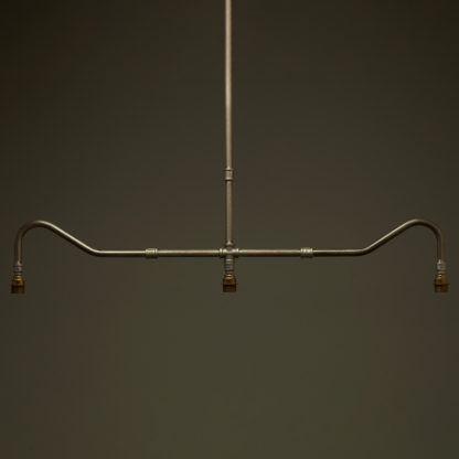 Plumbing Pipe Billiard table light raw steel antique brass with no gallery no shades no globes