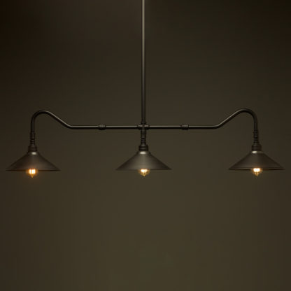 Plumbing Pipe Billiard table light flat black with fixed rustic shades