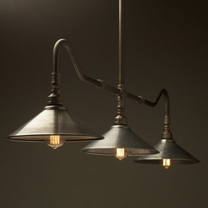 Plumbing Pipe Billiard table light with fixed gal shades