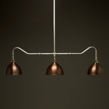 Plumbing Pipe Billiard table light galvanised with antiqued bronze dome shades