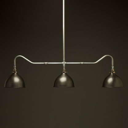 Plumbing Pipe Billiard table light galvanised with antiqued steel dome shades
