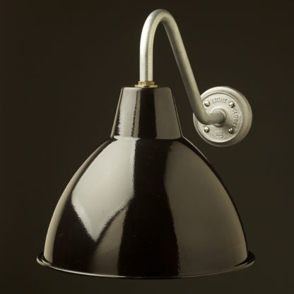 Short Goose-neck Barn light with enamel black factory shade galvanised