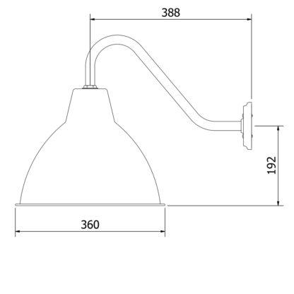 Short Goose-neck Barn light with enameled factory shade