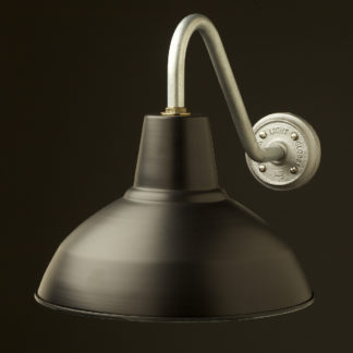 Short Goose-neck Barn light with painted black factory shade galvanised